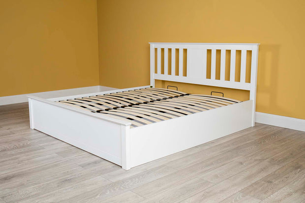 Chester White Ottoman Storage Bed Frame - 6ft Super King - The Oak Bed Store