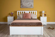 Chester Bright White & Medium Oak Ottoman Storage Bed Frame - 4ft6 Double - The Oak Bed Store