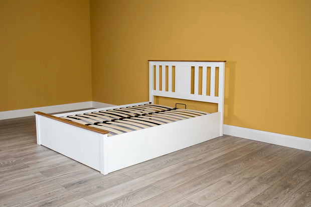 Chester White & Oak Ottoman Storage Bed Frame - 4ft6 Double - The Oak Bed Store