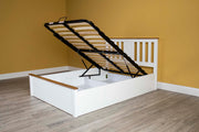 Chester White & Oak Ottoman Storage Bed Frame - 6ft Super King - The Oak Bed Store