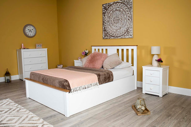 Chester Bright White & Medium Oak Ottoman Storage Bed Frame - 6ft Super King - The Oak Bed Store