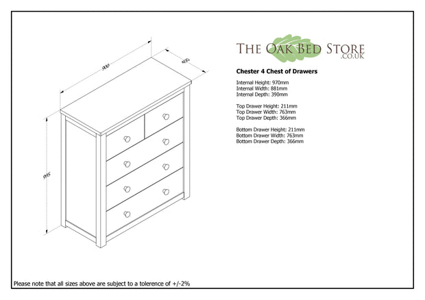Chester Medium Oak 2 Over 3 Chest of Drawers - The Oak Bed Store