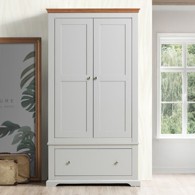 Chilgrove Light Grey & Oak 1 Drawer Double Wardrobe - The Oak Bed Store