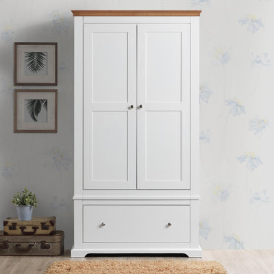 Chilgrove White & Oak 1 Drawer Double Wardrobe - The Oak Bed Store