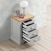 Chilgrove Light Grey & Oak 3 + 1 Drawer Bedside Table - B GRADE - The Oak Bed Store