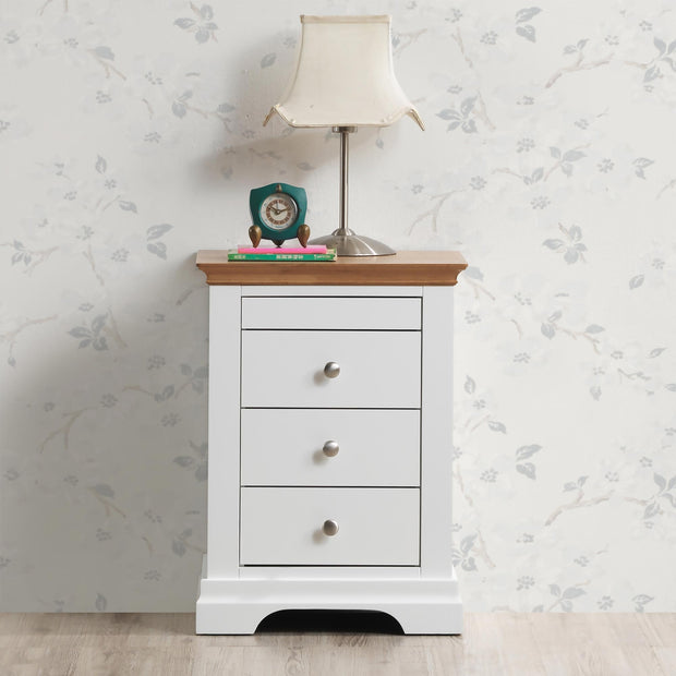 Chilgrove White & Oak 3 + 1 Drawer Bedside Table - The Oak Bed Store