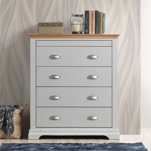 Chilgrove Light Grey & Oak 4 + 1 Drawer Chest of Drawers - The Oak Bed Store
