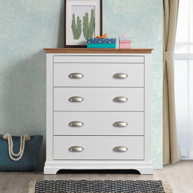 Chilgrove White & Oak 4 + 1 Drawer Chest of Drawers - B GRADE - The Oak Bed Store