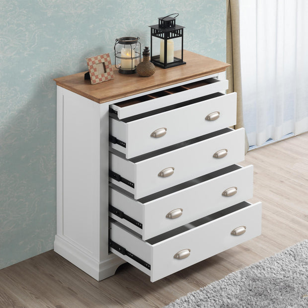 Chilgrove White & Oak 4 + 1 Drawer Chest of Drawers - The Oak Bed Store