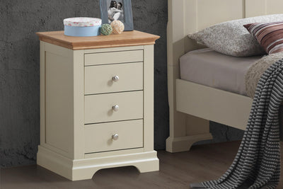 Chilgrove Cream & Oak 3 + 1 Drawer Bedside Table - The Oak Bed Store