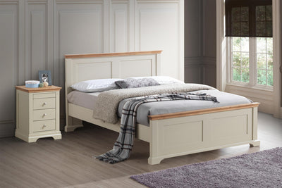 Chilgrove Cream & Oak Wooden Bed Frame - 4ft6 Double - The Oak Bed Store