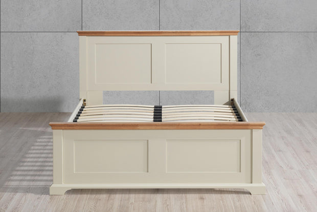 Chilgrove Cream & Oak Wooden Bed Frame - 5ft King Size - The Oak Bed Store
