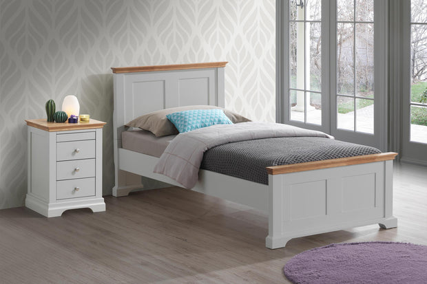 Chilgrove Light Grey & Oak Wooden Bed Frame - 3ft Single - The Oak Bed Store