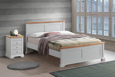 Chilgrove Light Grey & Oak Wooden Bed Frame - 4ft6 Double - The Oak Bed Store