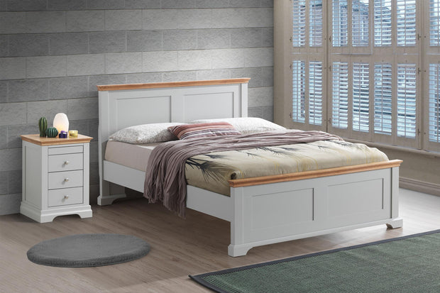 ce4c3ce6a07a Chilgrove Light Grey & Oak Wooden Bed Frame - 4ft6 Double - The Oak Bed  Store