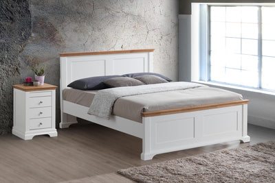 Chilgrove White & Oak Wooden Bed Frame - 4ft6 Double - The Oak Bed Store
