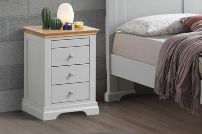 Chilgrove Light Grey & Oak 3 + 1 Drawer Bedside Table - The Oak Bed Store