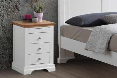Chilgrove White & Oak 3 + 1 Drawer Bedside Table - B GRADE - The Oak Bed Store