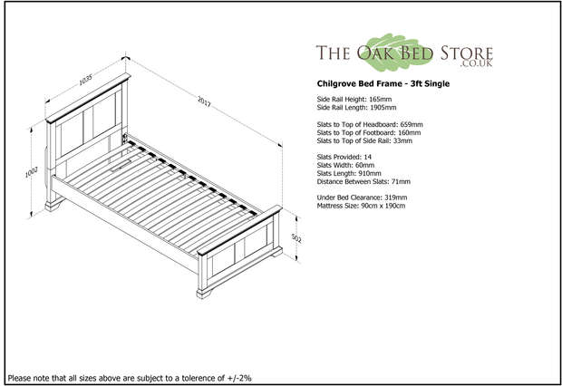 Chilgrove White & Oak Wooden Bed Frame - 3ft Single - The Oak Bed Store