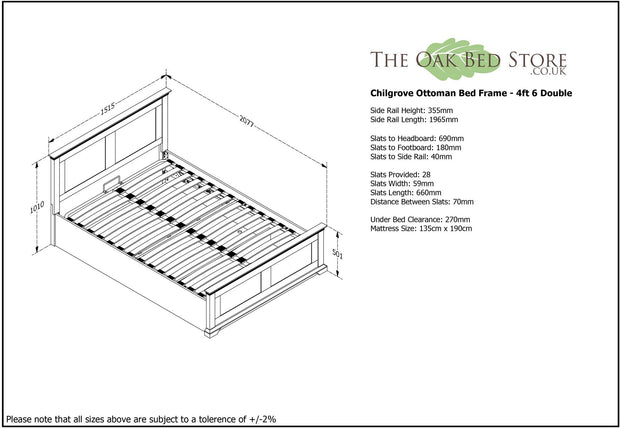 Chilgrove White & Oak Ottoman Storage Bed Frame - 4ft6 Double - The Oak Bed Store