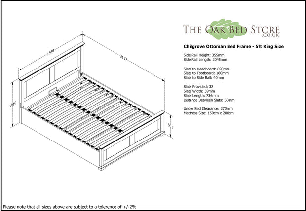 Chilgrove White Ottoman Storage Bed Frame - 5ft King Size - The Oak Bed Store