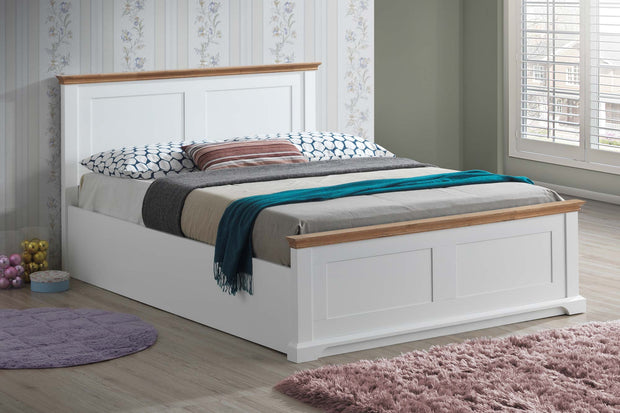 Chilgrove White & Oak Ottoman Storage Bed Frame - 5ft King Size - The Oak Bed Store
