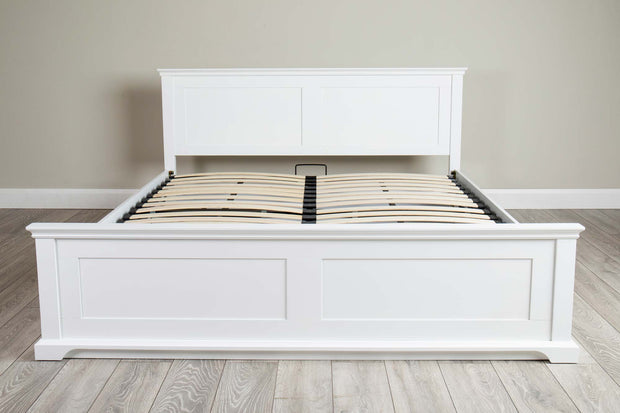 Chilgrove White Ottoman Storage Bed Frame - 6ft Super King - The Oak Bed Store