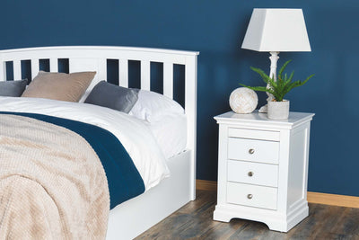 Chilgrove Bright White 3 + 1 Drawer Bedside Table