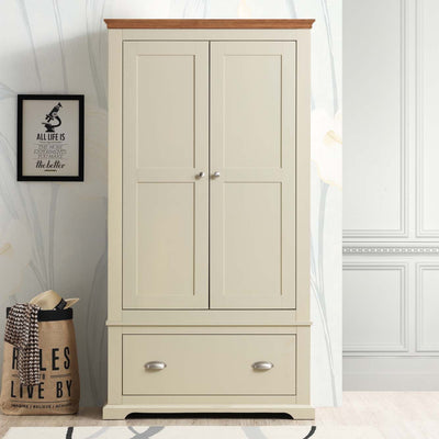 Chilgrove Cream & Oak 1 Drawer Double Wardrobe - B GRADE - The Oak Bed Store