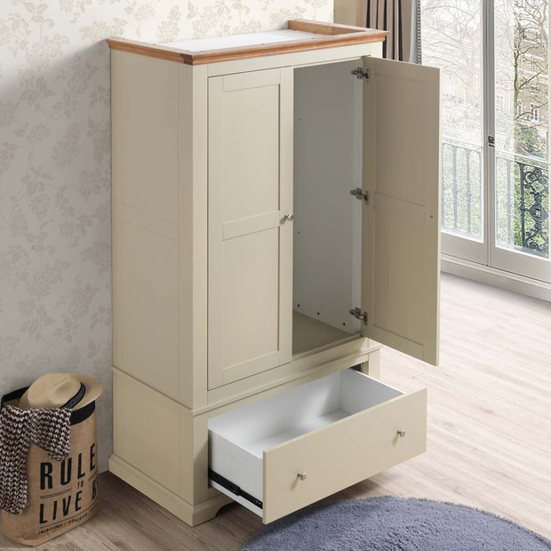 Chilgrove Cream & Oak 1 Drawer Double Wardrobe - The Oak Bed Store