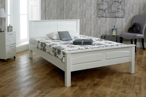 claridge white solid wood bed frame 4ft6 double - White Wood Bed Frame