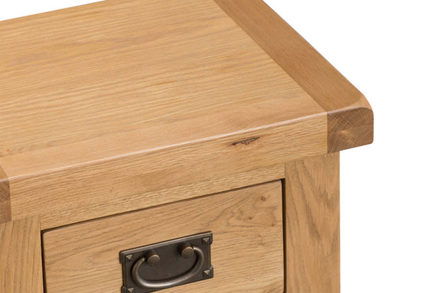 Cotswold Natural Oak 3 Drawer Shallow Bedside Table - The Oak Bed Store