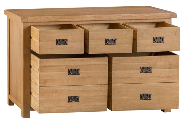 Cotswold Natural Oak 3 Over 4 Chest of Drawers - The Oak Bed Store