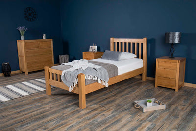 Emporia Solid Natural Oak Bed Frame 3ft - Single - The Oak Bed Store