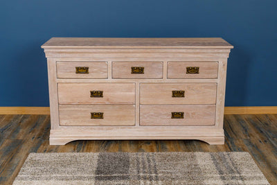 Hampshire White Washed Natural Oak 3 Over 4 Drawer Chest of Drawers