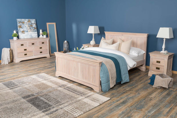 Hampshire White Washed Solid Natural Oak Bed Frame 4ft6 - Double