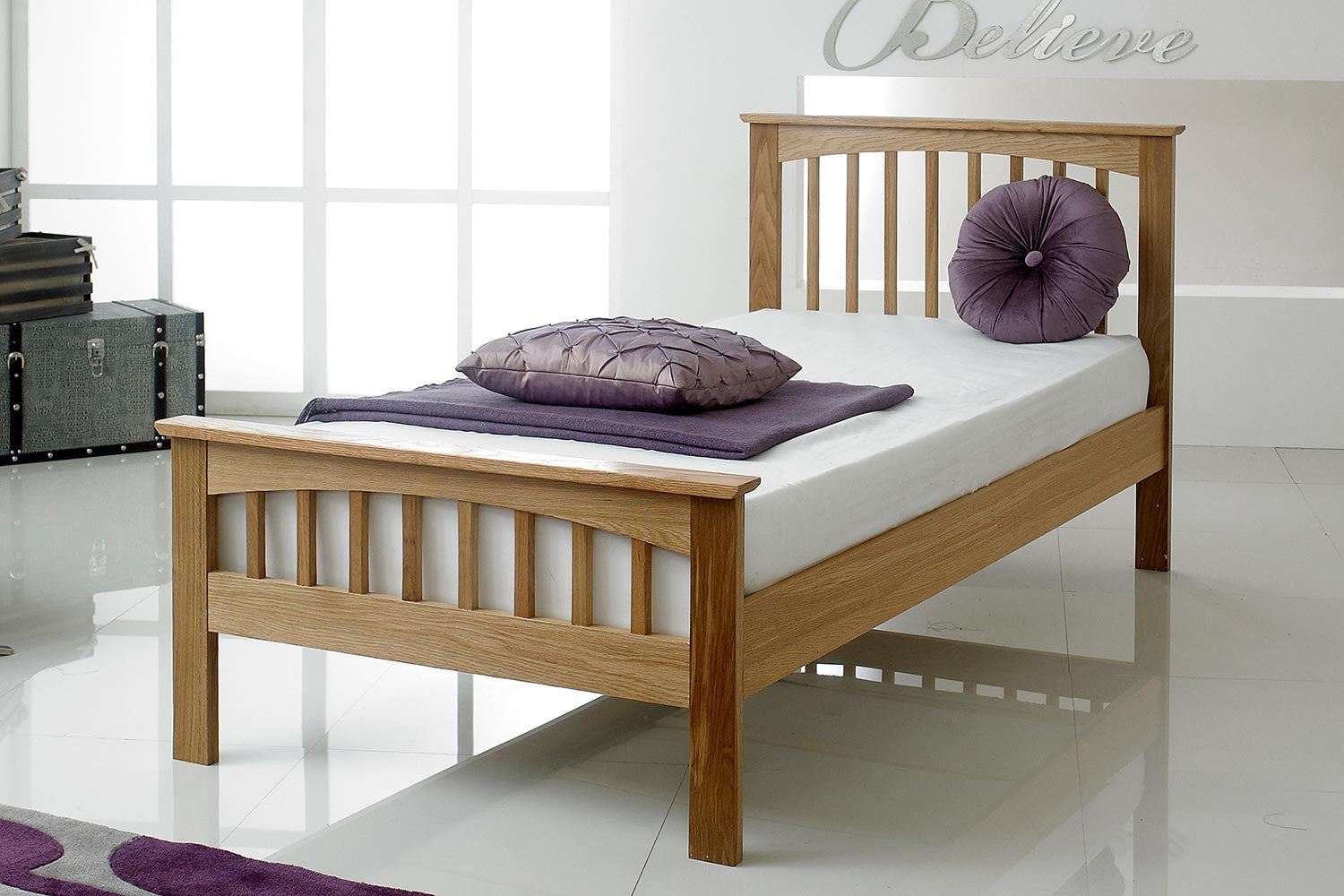 heywood solid oak bed frame 3ft single the oak bed store. Black Bedroom Furniture Sets. Home Design Ideas