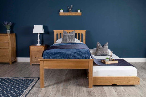 Heywood Solid Natural Oak Guest Bed (Low Foot End) - 3ft Single - The Oak Bed Store