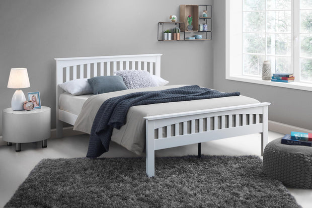 Heywood Bright White Solid Wood Bed Frame 5ft - King Size - The Oak Bed Store