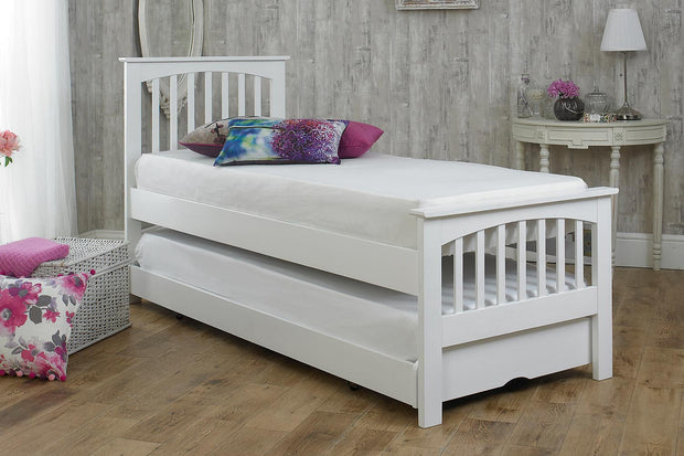 Heywood Soft White Solid Wood Guest Bed - 2ft6 Small Single - The Oak Bed Store
