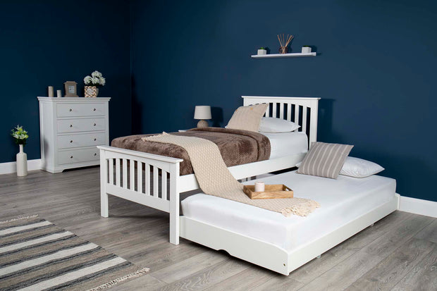 Heywood Soft White Solid Wood Guest Bed - 3ft Single - The Oak Bed Store
