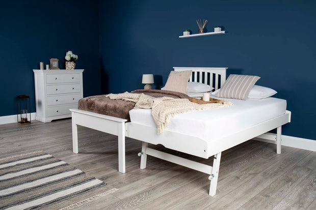 Heywood White Solid Wood Guest Bed (Low Foot End) - 3ft Single