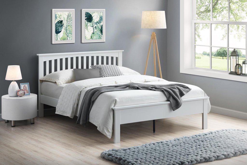 Heywood Bright White Solid Wood Bed Frame 6ft Super King The Oak Bed Store
