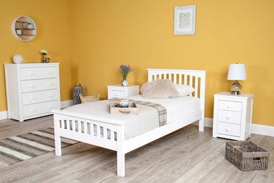 Heywood Bright White Solid Wood Bed Frame 3ft - Single - The Oak Bed Store