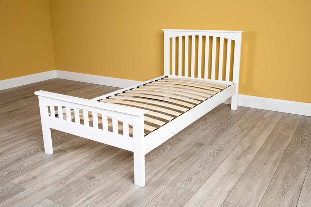 Heywood White Solid Wood Bed Frame 3ft - Single - The Oak Bed Store