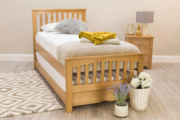 Heywood Solid Oak Guest Bed (40mm Spindles) - 3ft Single - The Oak Bed Store