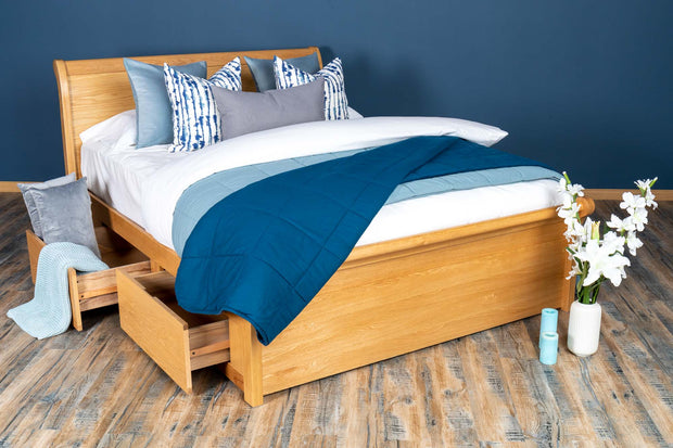 Mayfair Solid Natural Oak Storage Sleigh Bed Frame - 5ft King Size