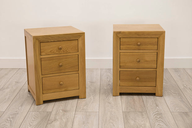 Kensington Natural Oak 2+1 Drawer Bedside Table - The Oak Bed Store