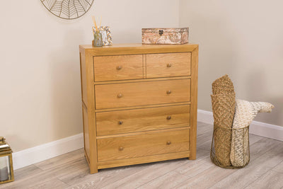 Kensington Natural Oak 4 Drawer Chest of Drawers - The Oak Bed Store
