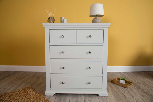Westcott Light Grey 4 Drawer Chest of Drawers - The Oak Bed Store